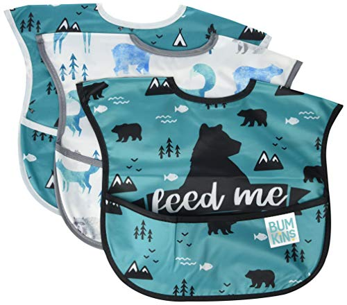 Bumkins SuperBib, Baby Bib, Waterproof, Washable, Stain and Odor Resistant, 6-24 Months, 3-Pack - Feed Me, Outdoor, Wild Life