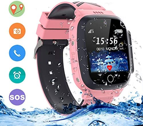 LDB Direct Kids Smartwatches Waterproof, GPS LPS Tracker Phone SOS Two-Way Call Touch Screen Voice Chat Game Smartwatch for 3-12 Year Old Boys Girls Birthday Gift Pink