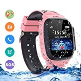 LDB Direct Kids Smartwatches Waterproof, GPS/LPS Tracker Phone SOS Two-Way Call Touch Screen Voice Chat Game Smartwatch for 3-12 Year Old Boys Girls Birthday Gift (Pink)