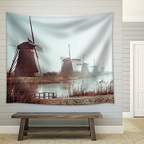 Traditional Dutch Windmills in Winter at Kinderdijk Netherlands Fabric Wall Tapestry