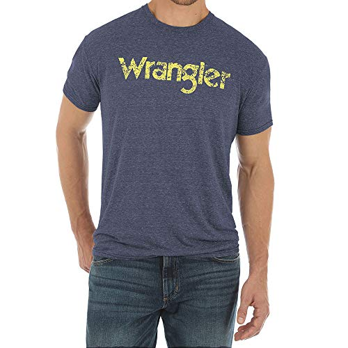 Wrangler Apparel Mens Heathered Grey Logo Tee L Blue