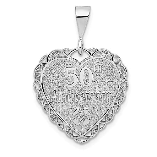 Real 14kt White Gold Polished Faceted Reversible 50th Anniversary Pendant ()