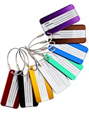 Aluminium Metal Travel Luggage Tags Suitcase Card Holder Baggage Name Address ID Bag Label with Key Ring 8 Pack
