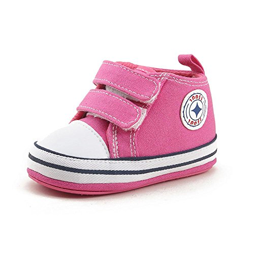Itaar Baby Canvas Sneaker Infant Toddler Dual Strap Trainer Anti-Skid Rubber Sole Prewalker Shoes for indoor outdoor walking