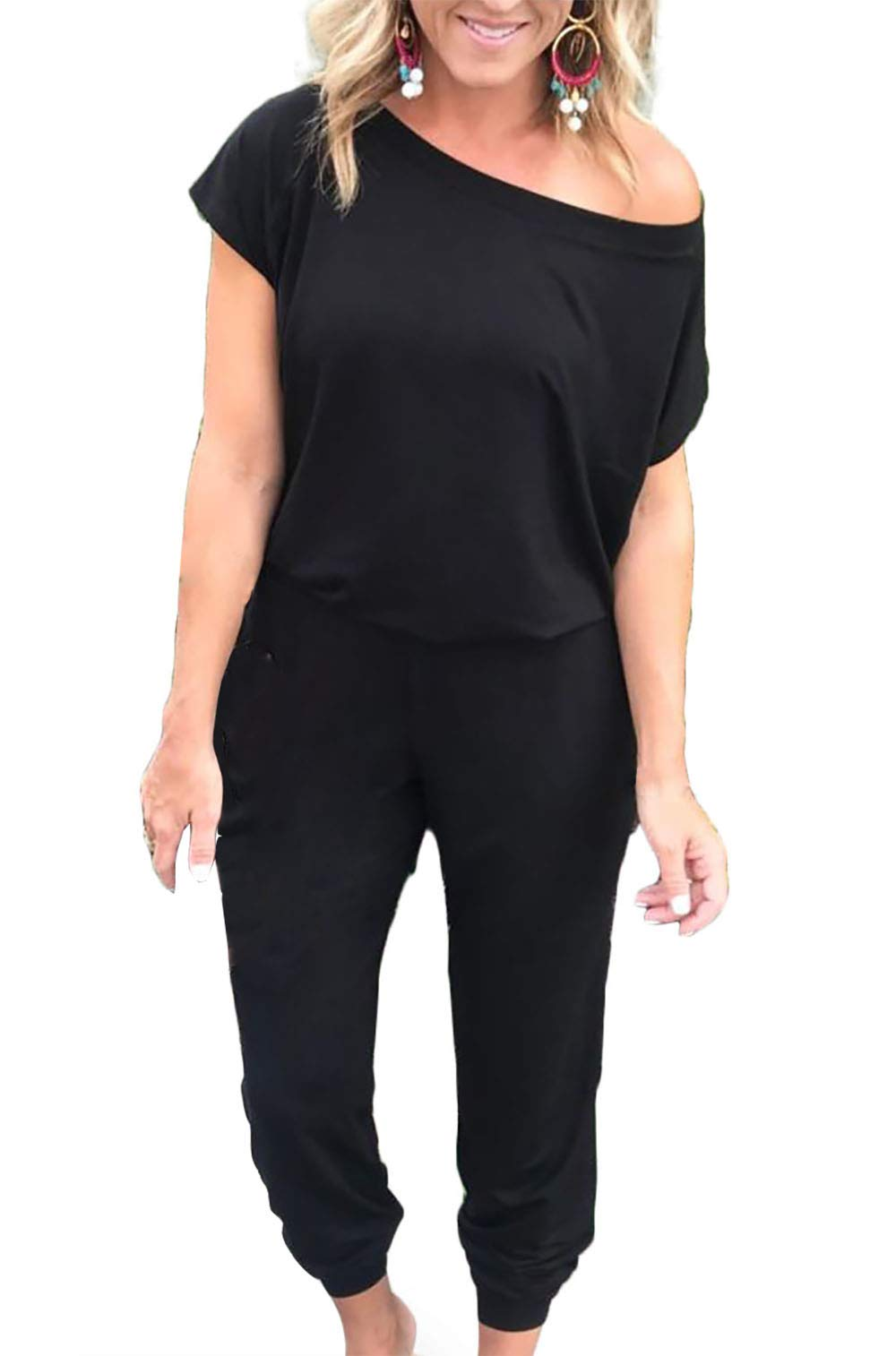 Alelly Women's Loose Fit Off Shoulder Elastic Waist Beam Foot Jumpsuit Rompers with Pockets Black by Alelly
