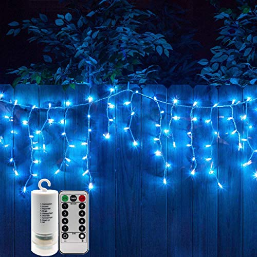 300 Blue LEDs Twinkle Icicle Light String Set with Remote Control Fairy Strand Powered by 4AA Batteries Curtain Lights Garden Light for Seasonal Holiday Festival Decorations of Xmas,Thanksgiving Day ()