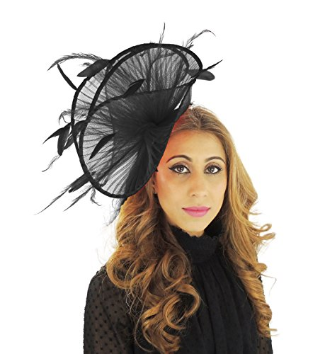 Hats By Cressida Black Fascinator Hat For Ascot Derby With Headband Afriel by Hats By Cressida