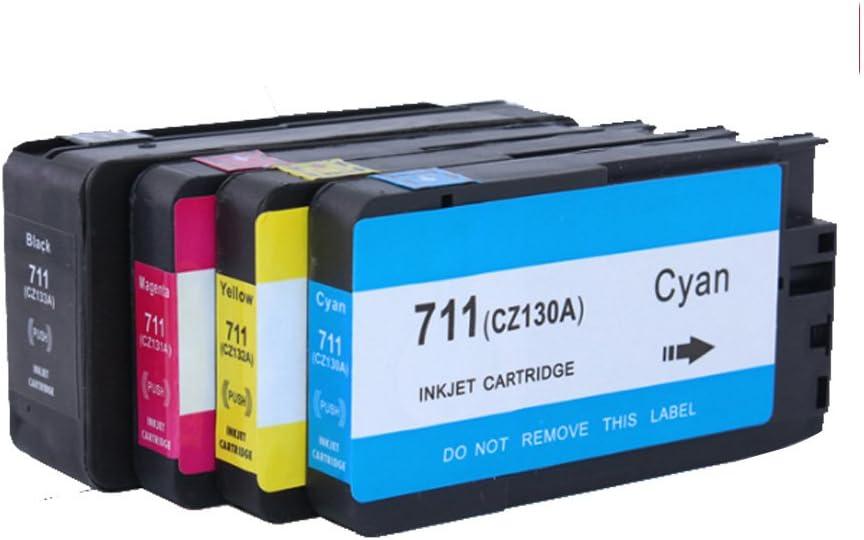 Karl Aiken Pack de 4 cartuchos de tinta 1 negro 1 Cian 1 Magenta 1 Amarillo Compatibles para HP DesignJet T120, T520/repuesto para HP 711 X L/cz129 a, CZ130 A, CZ131 A,