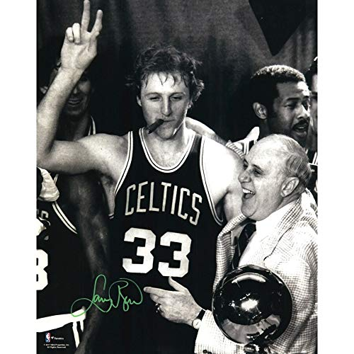 Larry Bird Boston Celtics FAN Autographed Signed 16x20 Smoking Cigar Photograph - Certified Signature