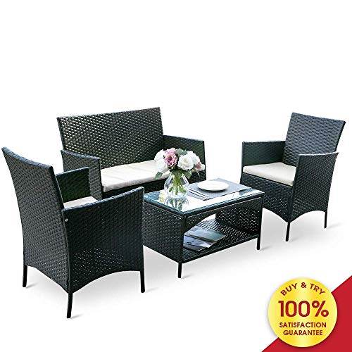 Romatlink 4 PCs Outdoor Rattan Patio Furniture Modern Wicker Conversation Sofa-Set with Cushioned Loveseat Armchairs & Glass Top Coffee Table Perfect for Garden Lawn Pool Backyard, -