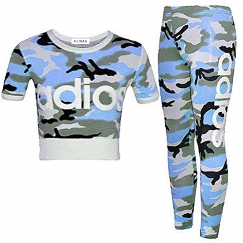 GUBA Girls New Adios Athletic Camouflage Crop TOP & Legging Two Piece Set 7-13 Years (Adios Blue Camouflage, 11-12 Years) (11 Year Old Girls Crop Tops)