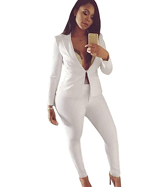 b77880bff Americana Mujer Blazer Y Pantalones Dos Piezas Elegantes Set Sencillos  Manga Larga Slim Fit Primavera Chaqueta