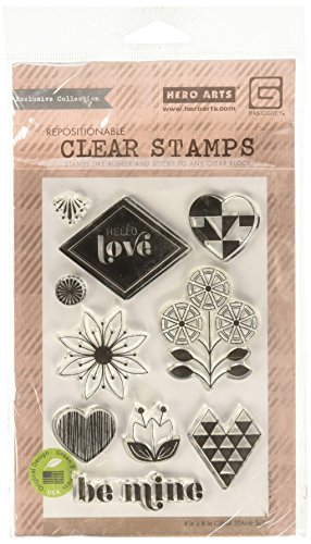 Hero Arts J'Adore Hello Love Clear Stamp Set, Basic Grey