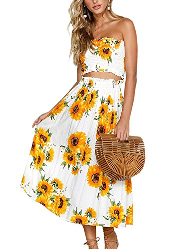 (Women's Dresses Summer Floral Crop Top Maxi Skirt Set 2 Piece Outfit Dress(Sunflower,X-Large))