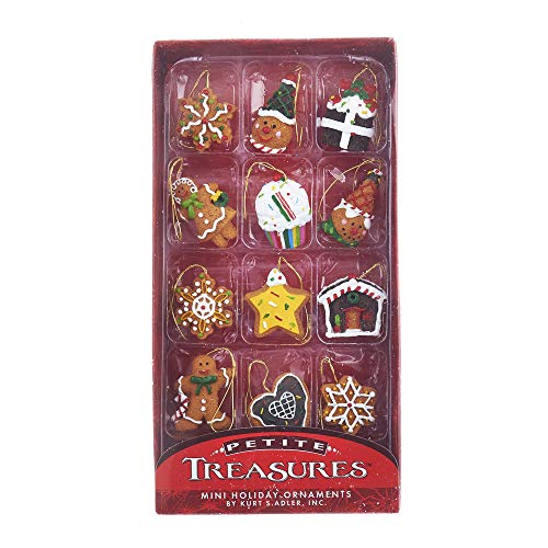 Mini Resin Ornament - Kurt Adler Holiday Resin Miniature Gingerbread Ornaments 12 Piece Box Set