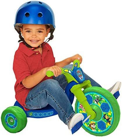 "Paw Patrol 10"" Fly Wheels Junior Cruiser Ride-On Pedal-Powered Toddler Bike/Trike – Blue/Green, Ages 2-4, for Kids 33""-35"" Tall Andup to 35 Lbs"