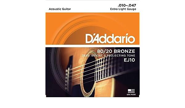 Amazon.com: CUERDAS GUITARRA ACUSTICA - D´Addario (EJ/10) Extra Lite Bronce 80/20 (Juego Completo 010/047): Musical Instruments