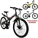 Xspec 26' 21-Speed Folding Mountain Trail Bicycle Commuter Foldable Bike, Black/White/Yellow