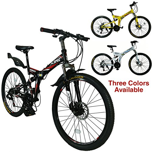 Best Buy! Xspec 26 21-Speed Folding Mountain Trail Bicycle Commuter Foldable Bike, Black/White/Yell...