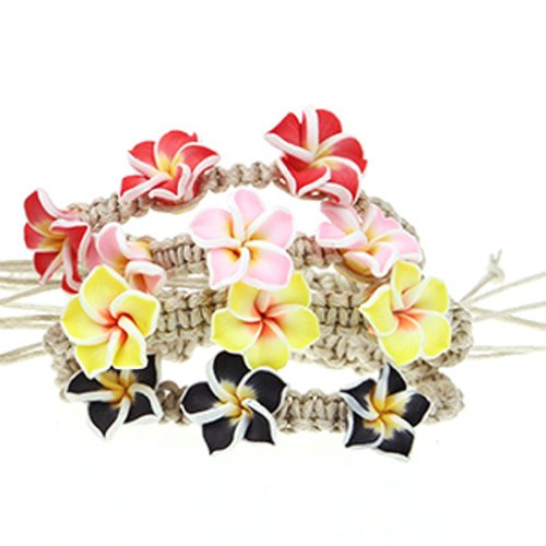 Flower Bracelet Handmade Clay Flower on Rope Adjustable 4 Pieces Set