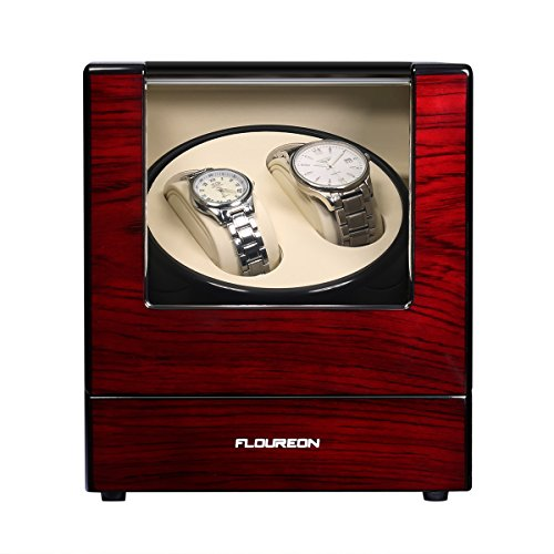 - FLOUREON Luxury Wood Rotation Motor Automatic 2+0 Watch Winder Box Display Double Watch Gift Storage Case