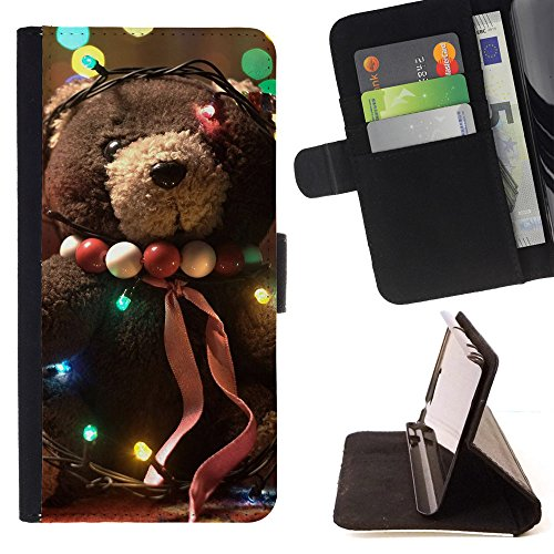 God Garden - FOR Apple Iphone 6 - Christmas Teddy Bears - Glitter Teal Purple Sparkling Watercolor Personalized Design Custom Style PU Leather Case Wallet Fli