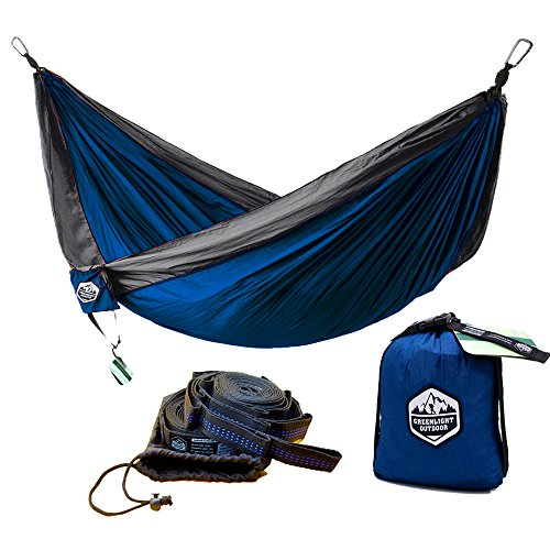 Greenlight Outdoor Double Camping Hammock with Tree Straps - Lightweight Nylon Portable Hammock, Best Parachute Double Hammock For Backpacking, Camping, Travel, Beach, Yard. 118''(L) x 78''(W) by Greenlight Outdoor