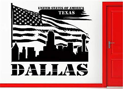 Removable Vinyl Wall Stickers Act Mural Decal Art Home Decor Texas Dallas Lone Star State US Flag USA