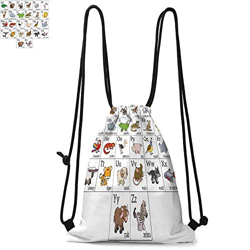 Educational Durable Drawstring Backpack Alphabet Learning Chart with Cartoon Animals Names Letters Upper and LowercaseSuitable for carrying around W13.4 x L8.3 Inch Multicolor