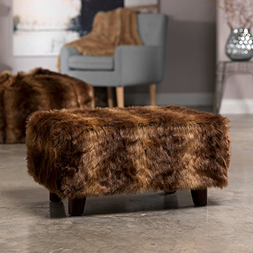 Icon Soho Luxury Faux Fur Footstool Rectangle Long Hair
