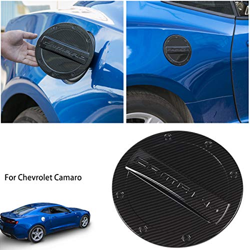Savadicar Camaro Gas Cap Cover Fuel Tank Door Exterior Trim Accessories for 2016+ 6th Gen Chevrolet Camaro, Non Fading, Powder Coated Steel, Black