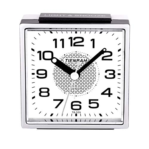 PINGHE Alarm Clock,Silent No-Ticking Bedside Analog Alarm Clock,Small Lightweight Travel Quartz Alarm Clock,with Snooze and Light,Easy to Set,Battery Operated,Best for Elder/Kids (Black 559)