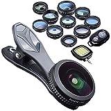 Electronics : KobraTech 9 in 1 Cell Phone Lens Kit - Super Wide Angle Lens, Kaleidoscope Lens, Macro Lens, Fisheye Lens, Telephoto Lens, CPL & Wide Angle iPhone Lens + Bluetooth Remote Shutter & LED Light