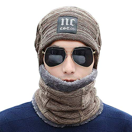 8d4a26dfef6 Knitted Beanie Hat with Scarf Set Warm Thick Soft Stretch Fleece Lining Cap  for Men Women