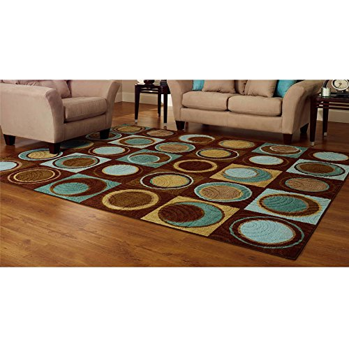 Visual verve, Attractive, Modern Sophisticated Better Homes and Gardens Circle Block Rug Blue/Brown 1'8