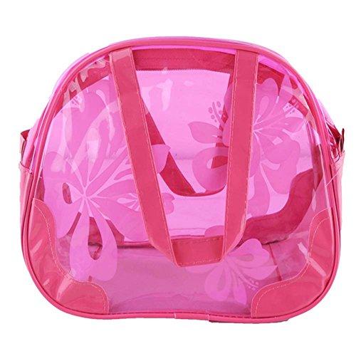 Wasserdicht -Süßigkeit-Farben Transparent Strandtasche / Wash Bag (Rose Red)