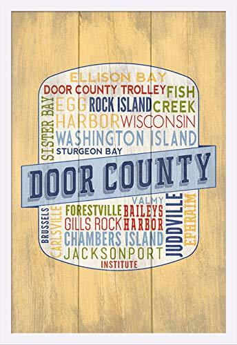 (Door County, Wisconsin - Door County Trolley - Rustic Typography - Contour 98341 (24x36 Giclee Art Print, Gallery Framed, White Wood))