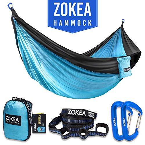 ng Hammock Portable Parachute Nylon Hammock With Tree Straps & Carabiners For Hiking, Backpacking, Camping, Travel, Beach, Yard, 600lbs (Portable Camping Hammocks)
