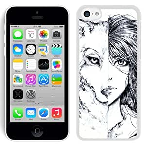 Grace Protactive Iphone 6 plus (5.5) Case Design with Wolf Girl White Cell Phone Case for Iphone 6 plus (5.5)