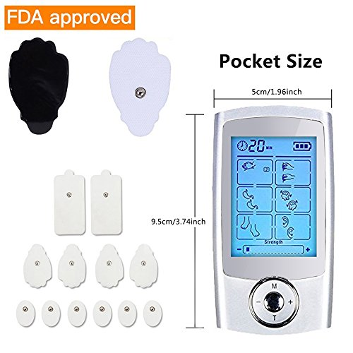Yimaler Tens Unit Rechargeable Electric Muscle Stimulator with 12 Pads 16 Modes Pulse Impulse Mini Therapy Massager Machine for Pain Relief FDA Approved 2017 Upgrade by Yimaler (Image #1)