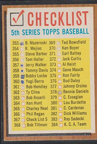 1962 Topps Series 5 Checklist Baseball Card #367