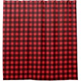 Amazon YYT Custom Shower Curtains Rustic Red Black