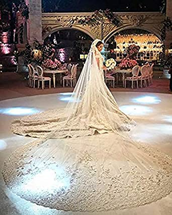 Fenghuavip Floral Lace Wedding Veil Cathedral Length Rhinestones 1 Tier 5M Veils for Brides