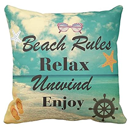 7973311945aa Kissenday 18X18 Inch Beach Rules Relax Unwind Enjoy Retro Marine Life Fun  Quote Saying Cotton Polyester