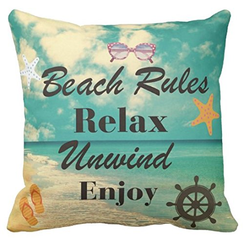 - Kissenday 18X18 Inch Beach Rules Relax Unwind Enjoy Retro Marine Life Fun Quote Saying Cotton Polyester Decorative Home Decor Sofa Couch Desk Chair Bedroom Car Birthday Gift Square Throw Pillow Case