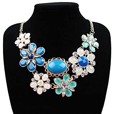 Amazon yuhuan fashion jewelry charm flower pendants necklaces amazon yuhuan fashion jewelry charm flower pendants necklaces trendy statement necklace blue jewelry aloadofball Image collections