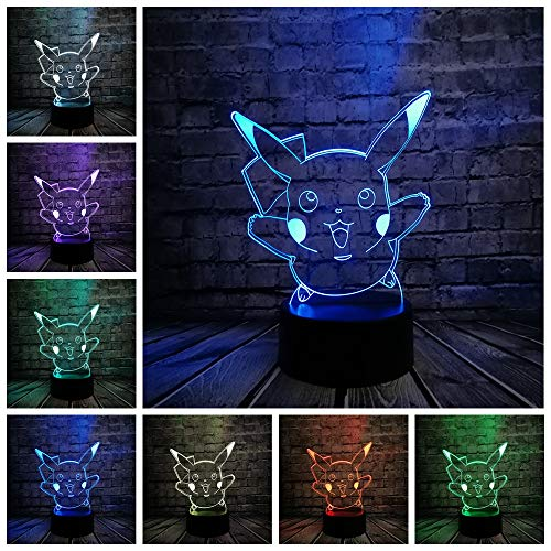 RTYHI 3D Night Light Cute Animal 7 Color Table Lamp USB Touch Remote Control Illusion Lamp Home Decoration Kids Toy, ()