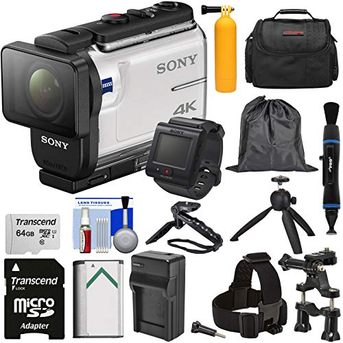 (Sony Action Cam FDR-X3000R Wi-Fi GPS 4K HD Video Camera Camcorder & Remote + Mounts + 64GB Card + Battery/Charger + Shooting Grip + Tripod + Case Kit )