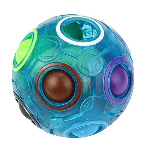 KingsTop Luminous Stress Reliever Magic Rainbow Ball Fun Cube Fidget Puzzle Educational Toy for Kids/Adults (A)