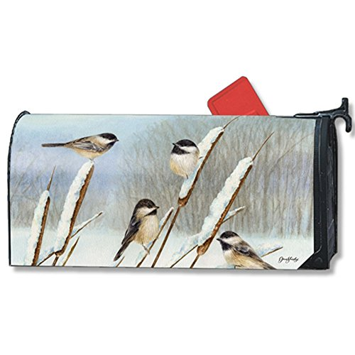 Mailwraps Cat - MailWraps Cattail Chickadees MailWrap Mailbox Cover 01454